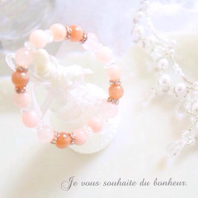 桜橙月*°心の傷を克服‧✧̣̥̇‧オレンジムーンストーン*天然石 ブレスレット ハンドメイドのアクセサリー(ブレスレット/バングル)の商品写真