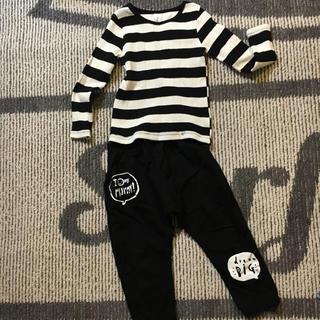 ディーホリック(dholic)の韓国服☆ボーダーリブTシャツ×パンツ☆セットアップ☆キッズ(Tシャツ/カットソー)