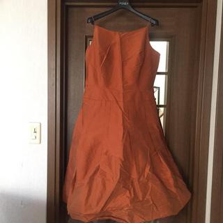 フォクシー(FOXEY)のお値下げ!フォクシー FOXEY ドレス ワンピース オレンジ系 チュール付き(ひざ丈ワンピース)