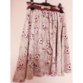 リズリサ(LIZ LISA)のSALE  チェック花柄sk(ひざ丈スカート)