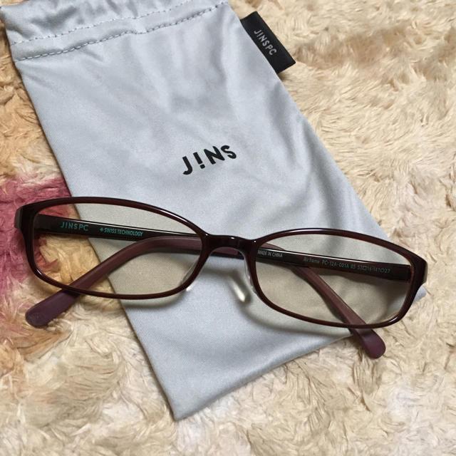 ◆メガネ◆ブルーライトカット JINS レンズ色付 フレーム ブラウン レディースのファッション小物(サングラス/メガネ)の商品写真