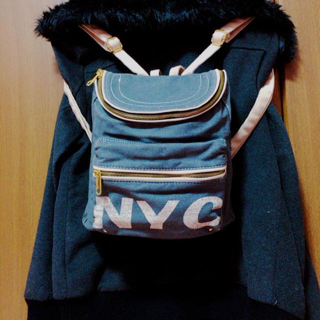 グレーデニム生地♥︎リュック レディースのバッグ(リュック/バックパック)の商品写真