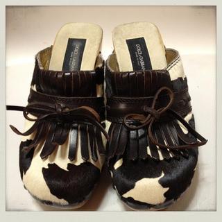 ドルチェアンドガッバーナ(DOLCE&GABBANA)のドルガバ、ハラコのサボ(ローファー/革靴)