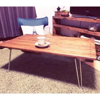 【期間限定激安】【天然杉使用】アンティーク風!横幅90cm折り畳みテーブル!(ローテーブル)