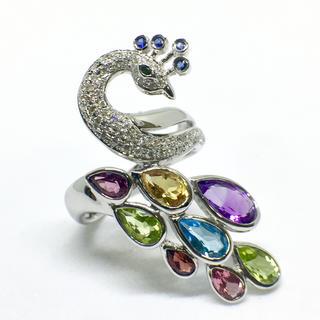 K18WG  ダイヤモンド  カラーストーン リング(リング(指輪))