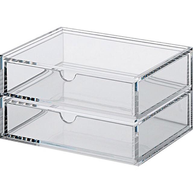 MUJI (無印良品)(ムジルシリョウヒン)の無印良品 アクリルケース 2段 ベロア内箱 収納 重なるアクリルケース2段 インテリア/住まい/日用品の収納家具(ケース/ボックス)の商品写真