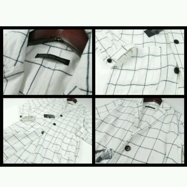 TETE HOMME(テットオム)のBlack onテットオム チェックチェスターコートM白 メンズのジャケット/アウター(チェスターコート)の商品写真