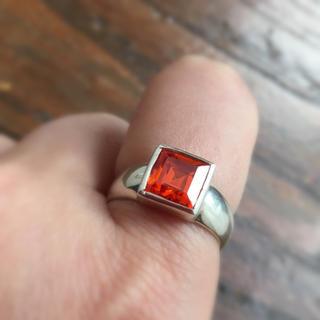 オレンジストーンのぽってりシルバーリング 刻印あり(リング(指輪))
