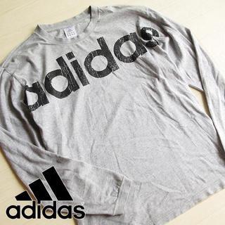 アディダス(adidas)のブルーローズ様 美品 Oサイズ アディダス ビッグロゴ 長袖Tシャツ グレー(Tシャツ/カットソー(七分/長袖))