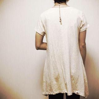 ムジルシリョウヒン(MUJI (無印良品))の新品✨ヘンプコットン 半袖カットソー チュニック ワンピ 麻 ヘンプ リネン(Tシャツ(半袖/袖なし))