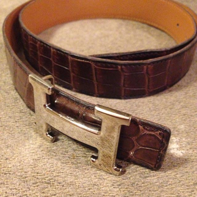 824fa5c98c4f Hermes(エルメス)のエルメス クロコ ベルト 本物定価30万 レディースのファッション小物
