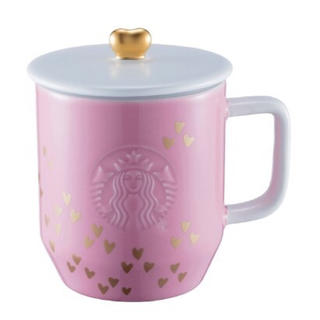 スターバックスコーヒー(Starbucks Coffee)のスターバックス台湾2017新作 ハートいっぱい ピンクの蓋付きマグ 限定品(グラス/カップ)