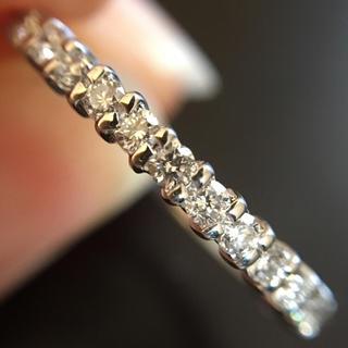 重ね着けに最適!ダイヤモンド0.31ct PTハーフエタニティリング 11号(リング(指輪))