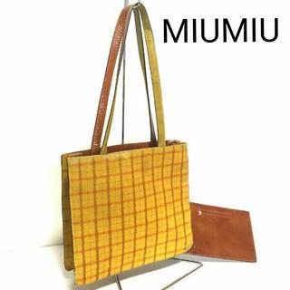 ミュウミュウ(miumiu)の正規 MIUMIU ハラコ レザー トート ショルダーバッグ チェック 黄色(トートバッグ)