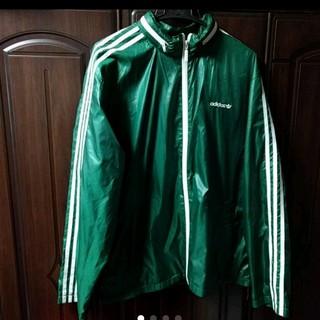 アディダス(adidas)のadidas ナイロンジャケット パーカー  緑白 90's(ナイロンジャケット)