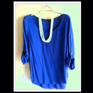 ザラ(ZARA)のzaraのシャツ H&Mのネックレス付き(シャツ/ブラウス(長袖/七分))