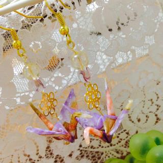 友禅千代紙 薄紫折り鶴 和風ピアス(ピアス)