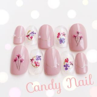 春色ピンク 押し花 ネイル