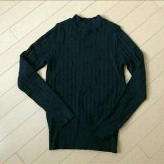 ジーユー(GU)のGU  ワイドリブニット  黒(ニット/セーター)
