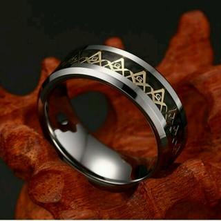 【最安値✨新品】 18号 フリーメイソン 指輪 リング ブラック×シルバー(リング(指輪))