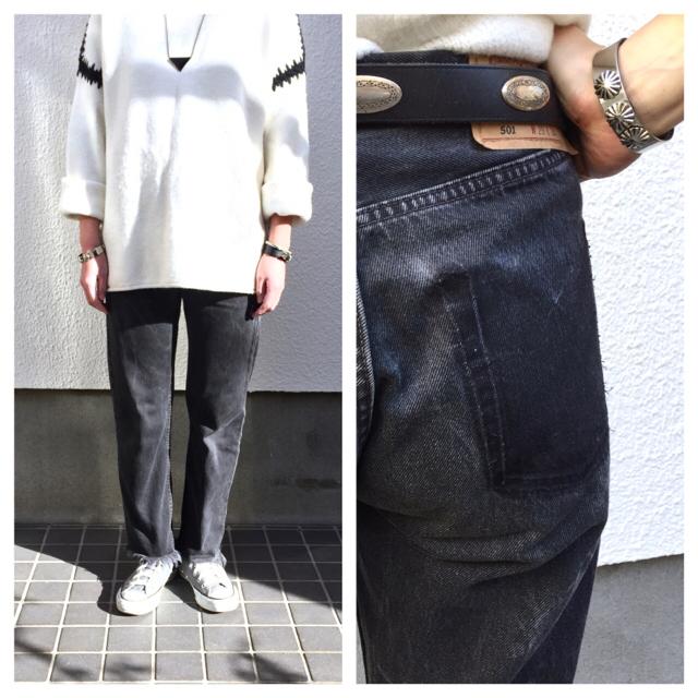 yumii様専用!ビンテージ コンチョベルト♡リーバイス ブラックデニム レディースのファッション小物(ベルト)の商品写真