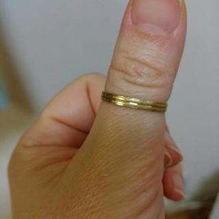 指輪k18イエローゴールド 刻印あり 人差し指 男女兼用(リング(指輪))