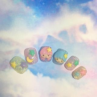 キキララ 3D お星様とお月様 ネイルチップ♡ サイズオーダーメイド