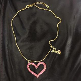 バービー(Barbie)の美品★Barbie★バービー★ネックレス★ゴールド★ピンク★ハート★ストーン(ネックレス)