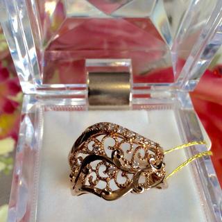 K18 ピンクゴールド 天然ダイヤモンド リング(リング(指輪))