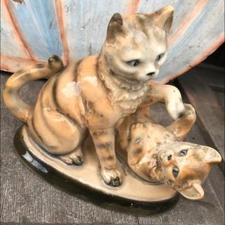 * 大正 昭和初期 骨董品 トラ猫 焼き物 インテリア *(彫刻/オブジェ)