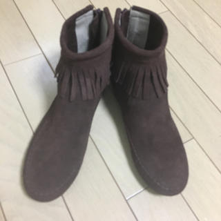 ベルメゾン(ベルメゾン)の17日まで限定価格 新品未使用 本革フリンジブーツ(ブーツ)