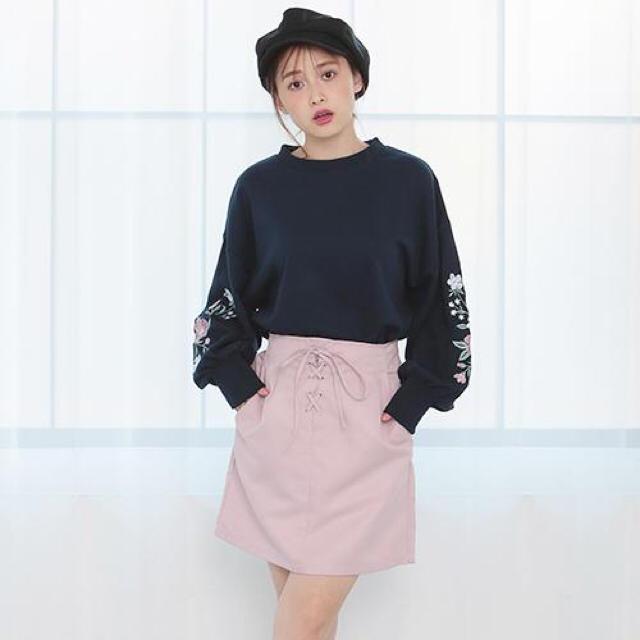one after another NICE CLAUP(ワンアフターアナザーナイスクラップ)のレースアップタイトスカート♡PINK レディースのスカート(ミニスカート)の商品写真