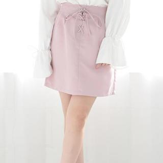ワンアフターアナザーナイスクラップ(one after another NICE CLAUP)のレースアップタイトスカート♡PINK(ミニスカート)