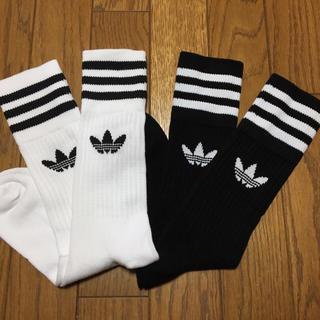 アディダス(adidas)の▼新品★アディダス 3ライン ソックス 靴下 黒白2足セット 24-26▼(ソックス)