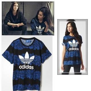 アディダス(adidas)のadidas アディダス Tシャツ 花柄 ブルー フローラル (Tシャツ/カットソー(半袖/袖なし))