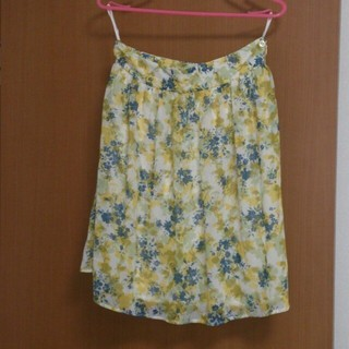 プーラフリーム(pour la frime)の黄色柄スカート☆ボーダーワンピース☆(ひざ丈スカート)