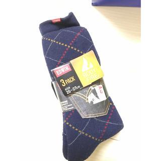 エドウィン(EDWIN)の新品 メンズ 冬用 靴下 ソックス 三足セット(ソックス)