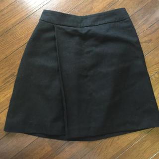 ローリーズファーム(LOWRYS FARM)のローリーズファーム 台形スカート ラップスカート ブラック(ミニスカート)