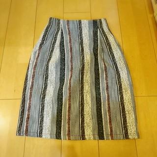 ミスティウーマン(mysty woman)のmystywoman*ツイード調ストライプコクーンスカート(ひざ丈スカート)