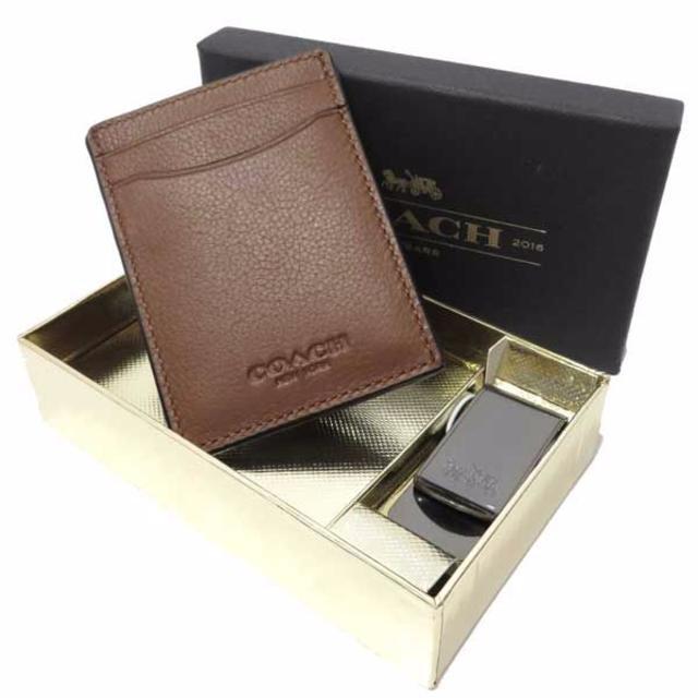 00f47bbd8120 COACH(コーチ)のコーチ カードケース マネークリップ ブラウン レザー A16288A メンズのファッション小物