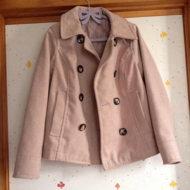 ピンクベージュ Pコート レディースのジャケット/アウター(ピーコート)の商品写真