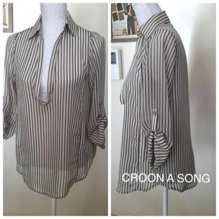 クルーンアソング(CROON A SONG)のCROON A SONG クルーンアソング ボーダーブラウス シャツ(シャツ/ブラウス(長袖/七分))