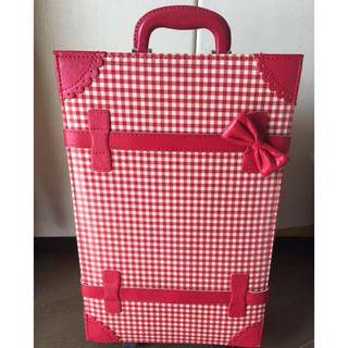 スイマー(SWIMMER)のスイマーリボン付赤チェック柄キャリーバッグ♡鍵付キャリーケース(スーツケース/キャリーバッグ)