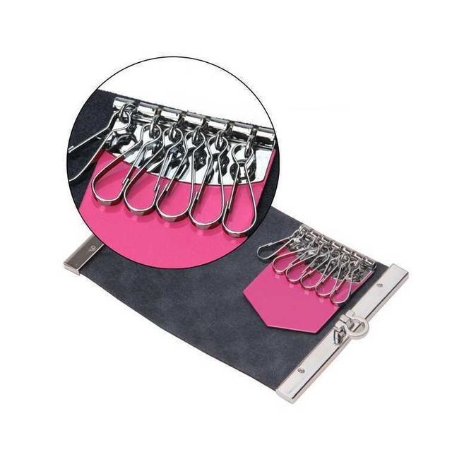 送料無料!赤 型押し6連キーケース 牛革エナメル加工 ハンドメイドのファッション小物(キーケース/名刺入れ)の商品写真