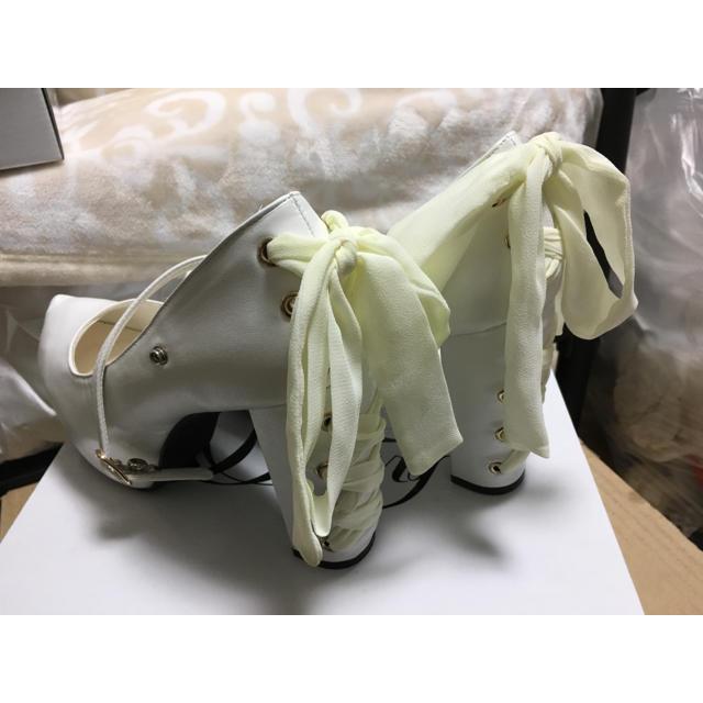 夢展望(ユメテンボウ)の夢展望 後レースアップリボンパンプス ホワイト レディースの靴/シューズ(ハイヒール/パンプス)の商品写真