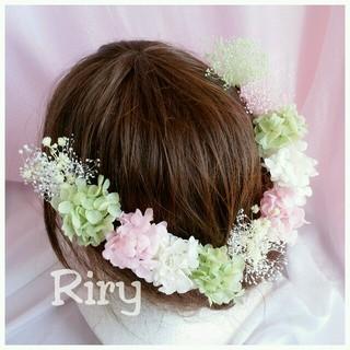 緑、ピンク、白♡プリザーブドフラワー紫陽花、かすみ草11本セット(ヘアピン)