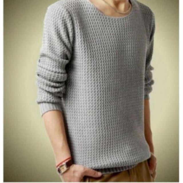 ラウンドネック 長袖 セーター メンズ シンプル ニット【グレー】 メンズのトップス(ニット/セーター)の商品写真