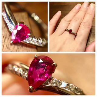 非加熱のような潤みの赤。ルビー0.345ct&ダイヤモンド PTリング(リング(指輪))