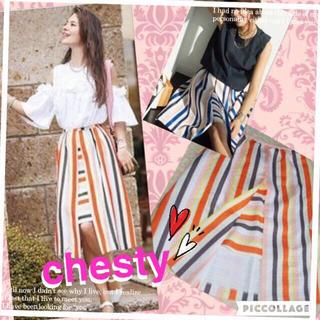チェスティ(Chesty)の試着のみ♡chestyストライプスカート(ひざ丈スカート)