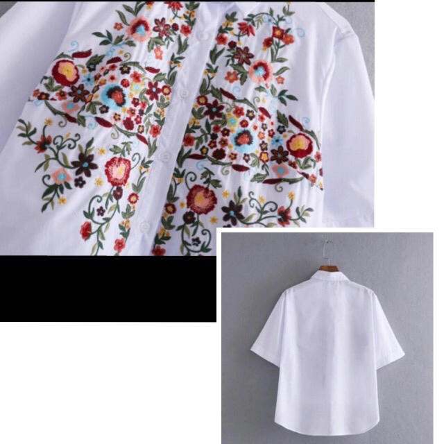 送料無料!ZARA系♡刺繍♡ホワイト♡半袖シャツ♡Mサイズ レディースのトップス(シャツ/ブラウス(半袖/袖なし))の商品写真